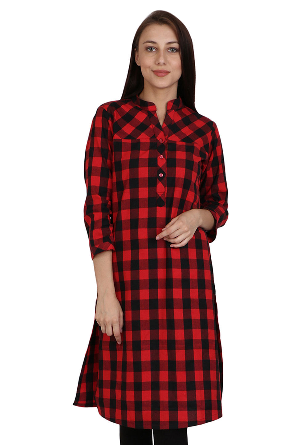Printed Cotton Long Kurta in Red and Black