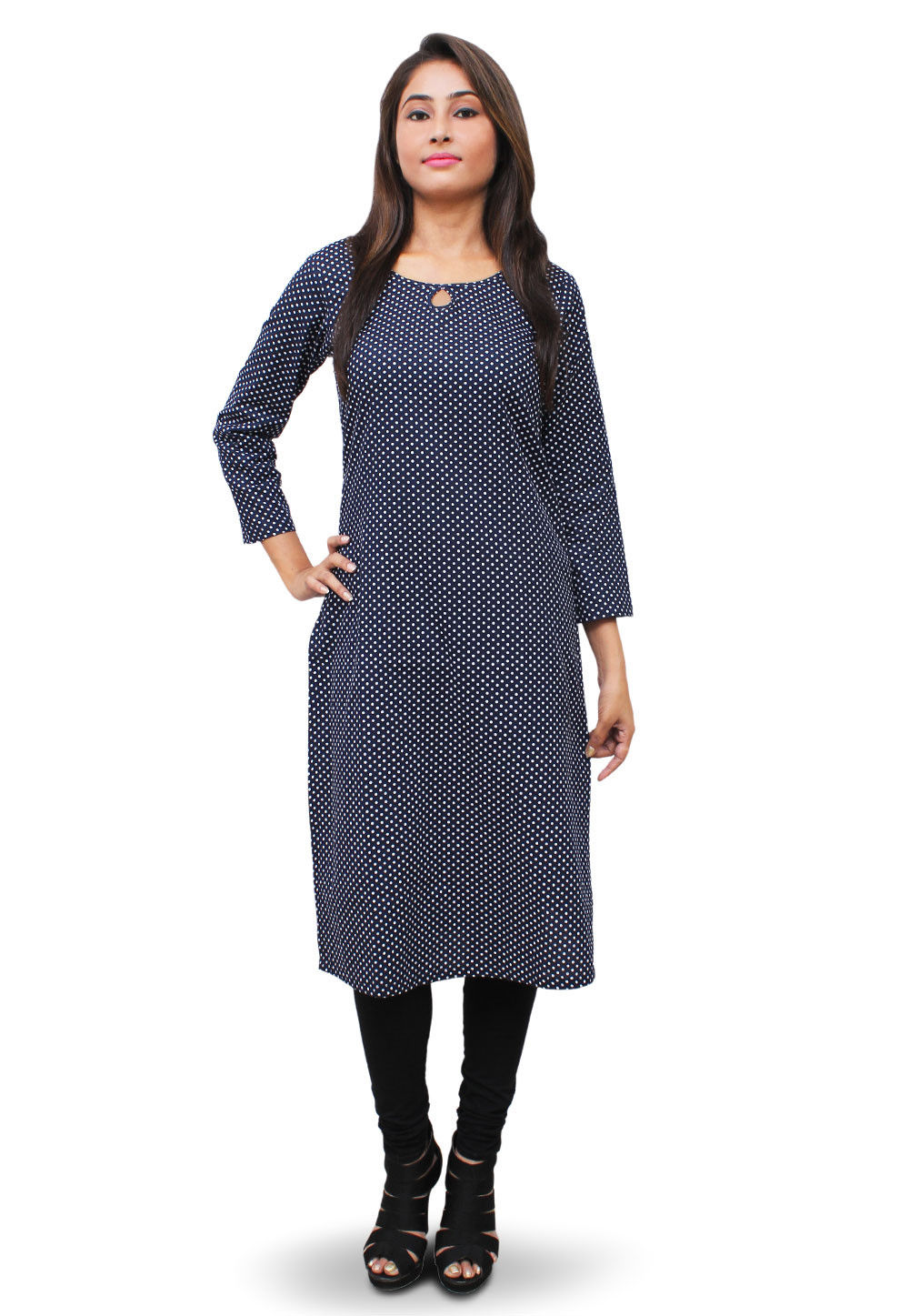 Printed Cotton Long Kurta in Navy Blue