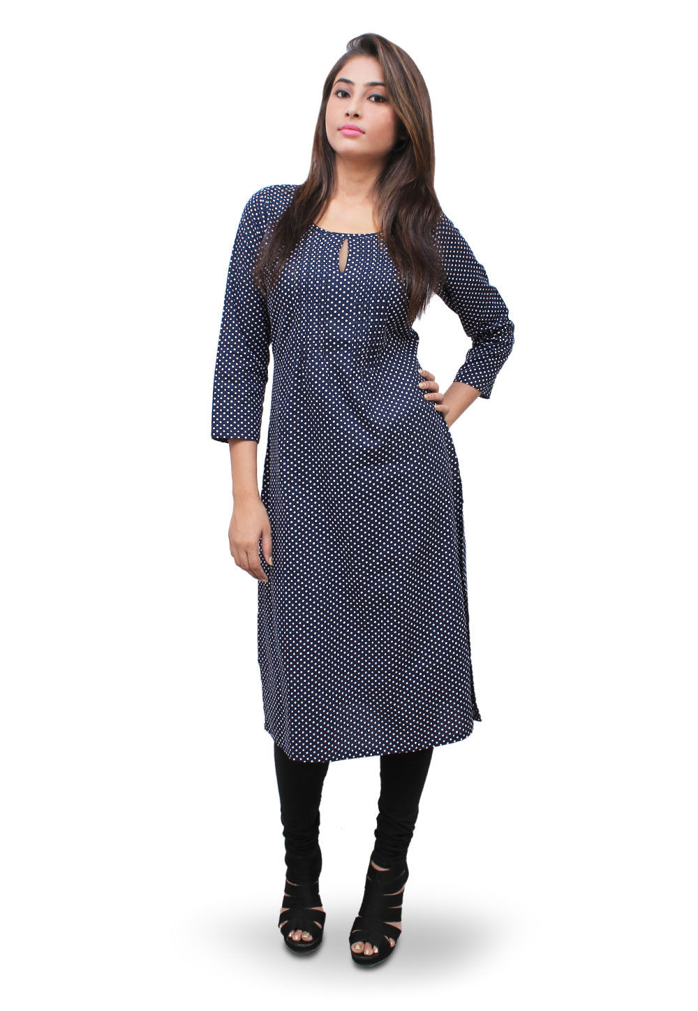 Printed Cotton Long Kurta in Blue