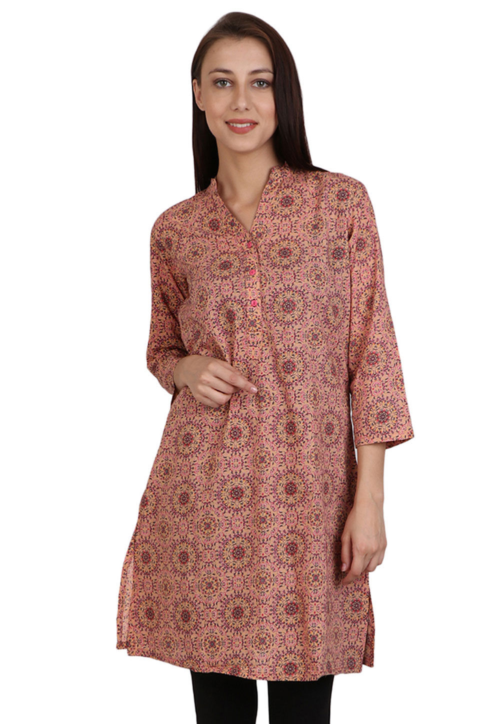 Printed Cotton Kurti in Peach