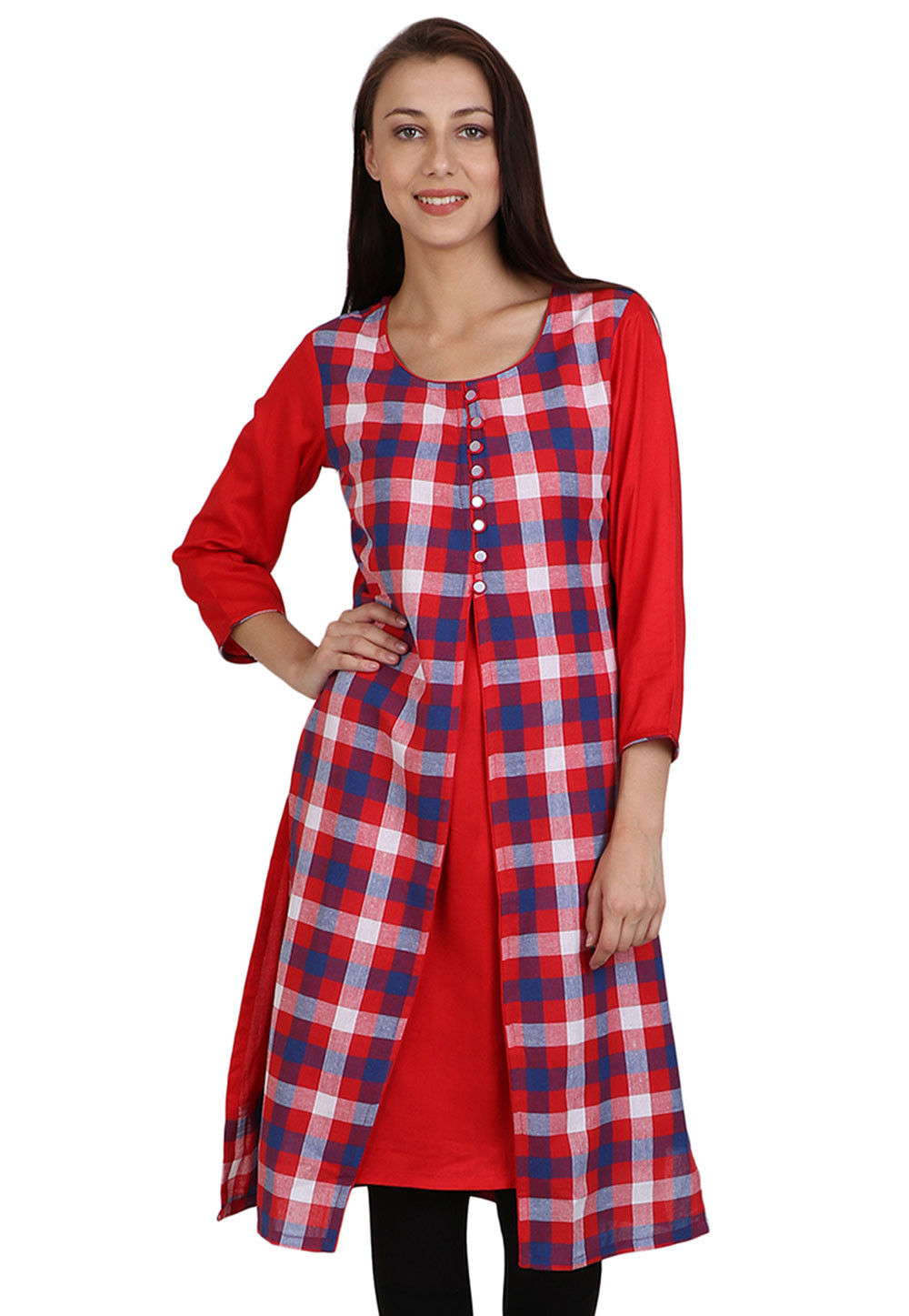 Printed Cotton Jacket Style Kurta in Red