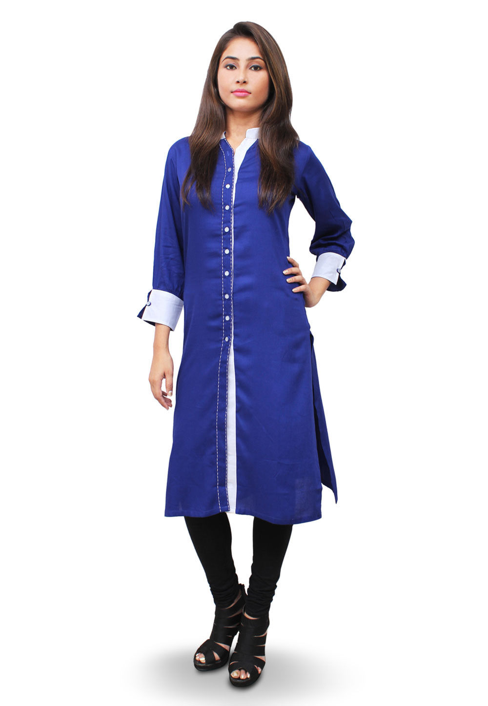 Front Open Cotton Rayon Kurta in Royal Blue