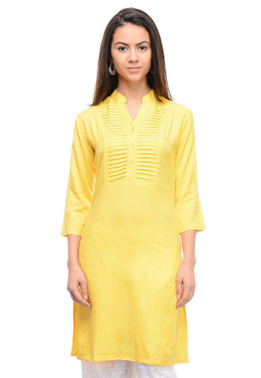 Tucked Cotton Kurta in Yellow