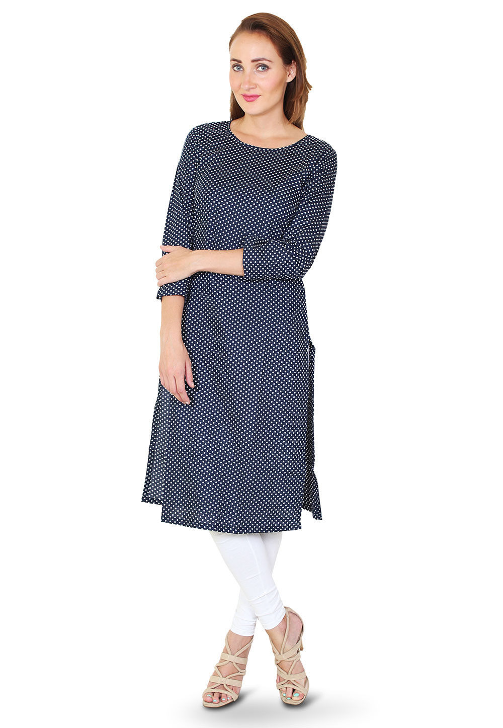 Printed Cotton Kurta in Navy Blue