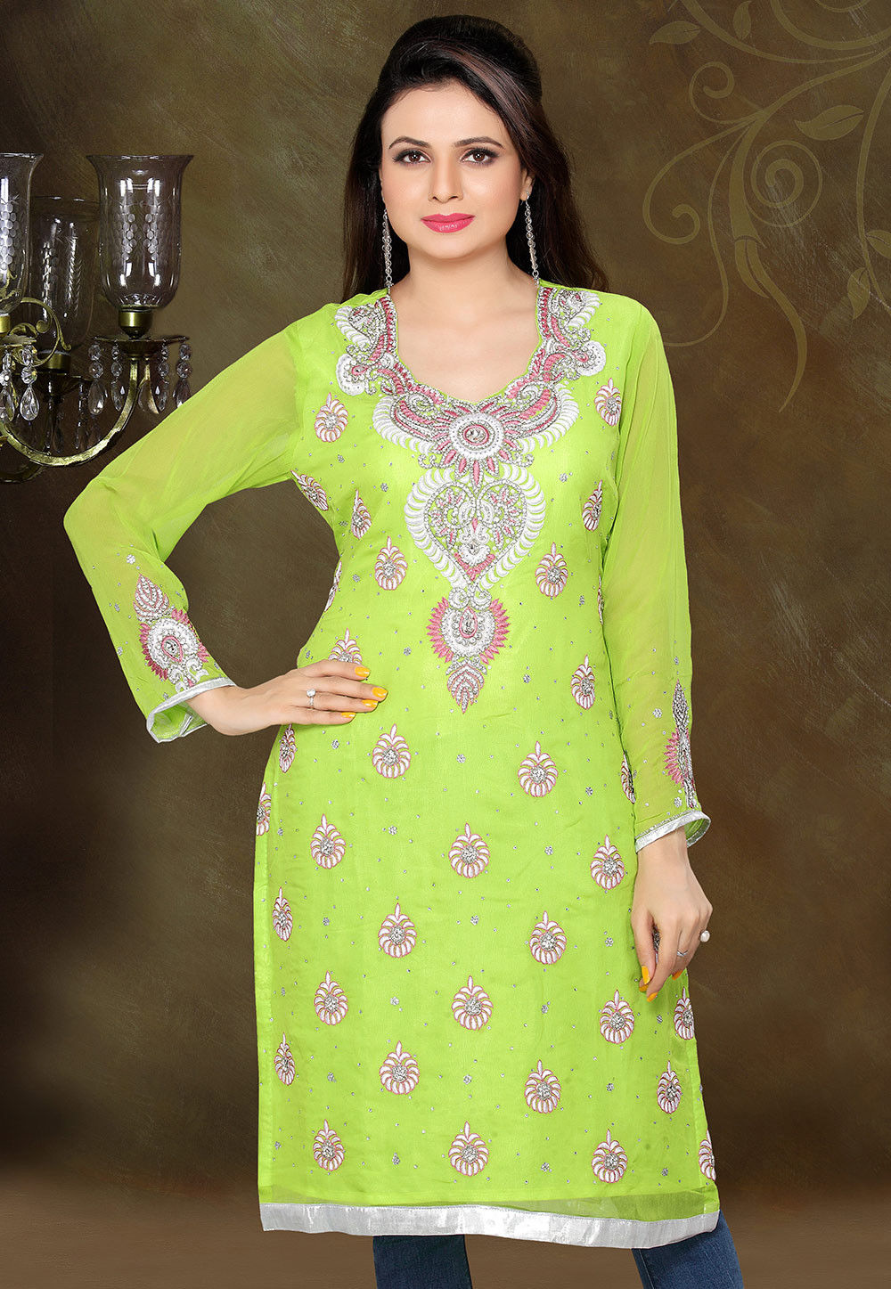 Embroidered Viscose Georgette Kurta in Light Green