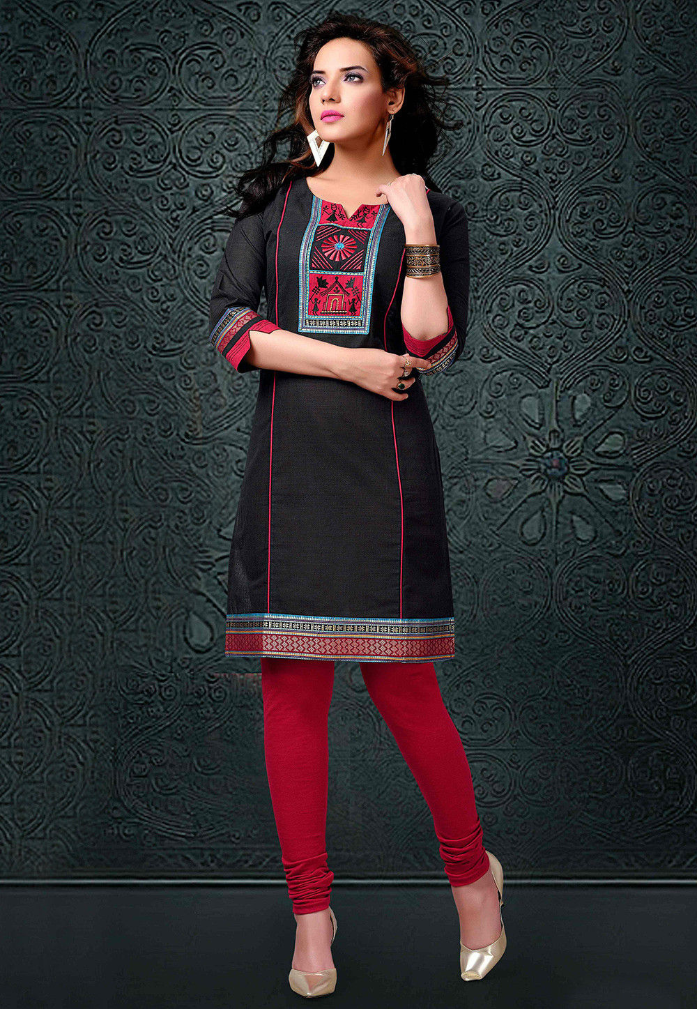 Embroidered Cotton Handloom Long Kurta in Black