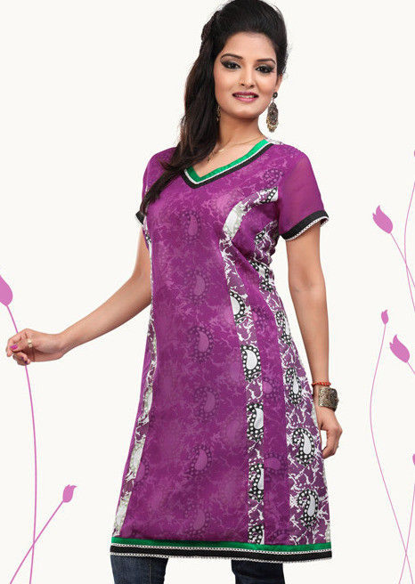 Printed Cotton and Georgette Tunic In Purple