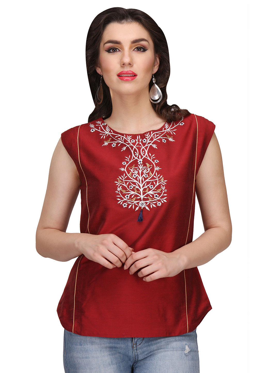 Embroidered Cotton silk Top in Maroon