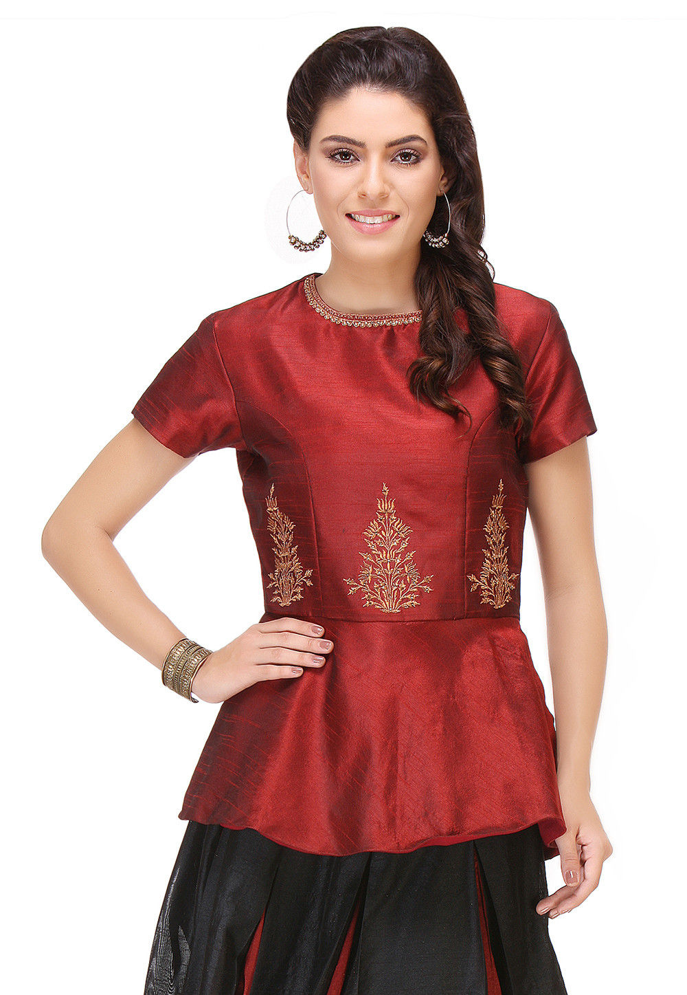 Embroidered Raw Silk Peplum Top in Maroon