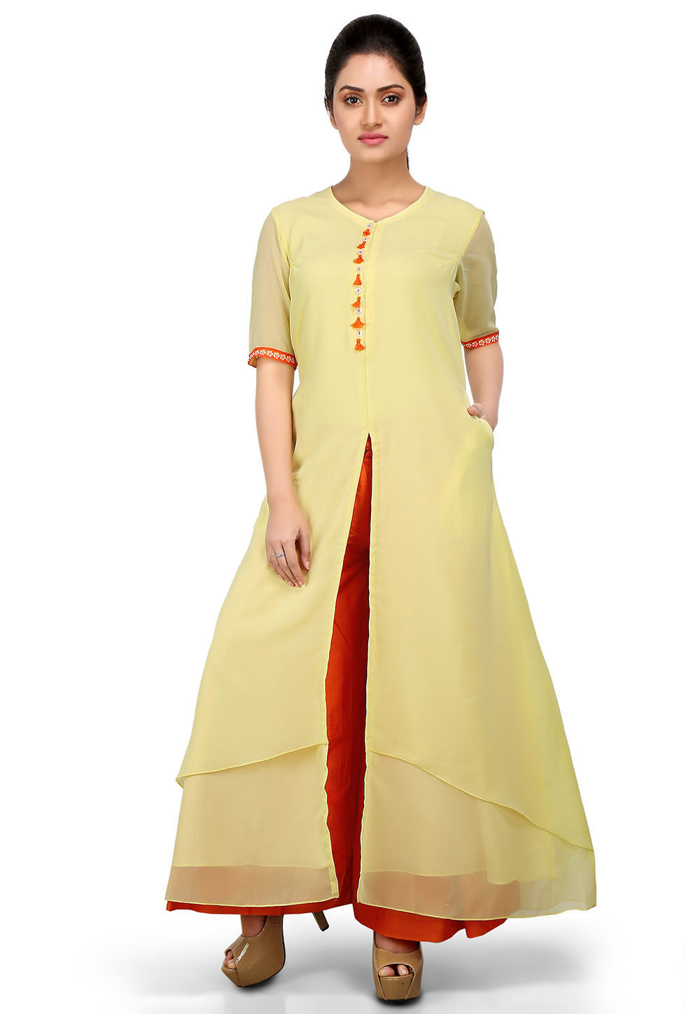 Front Slit Double Layered Georgette Kurta in Yellow