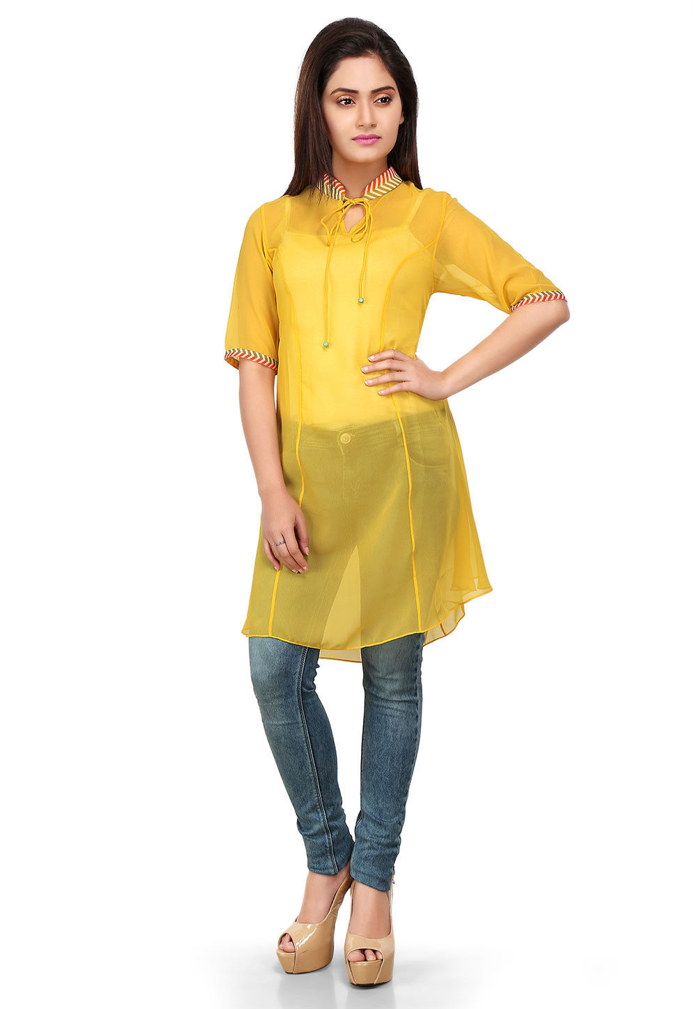 Plain Georgette Tunic in Yellow