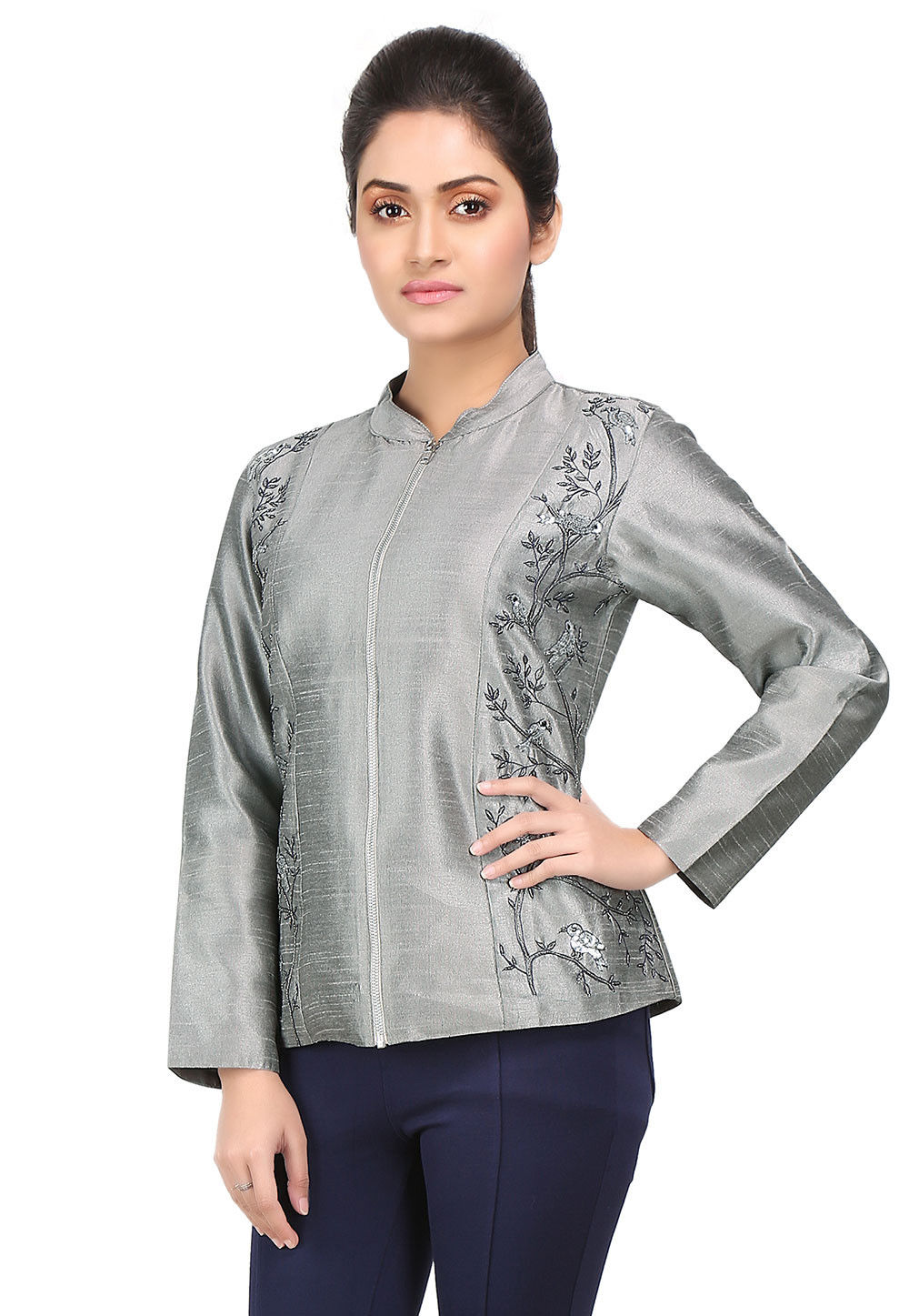 Embroidered Cotton Silk Bomber Jacket in Grey