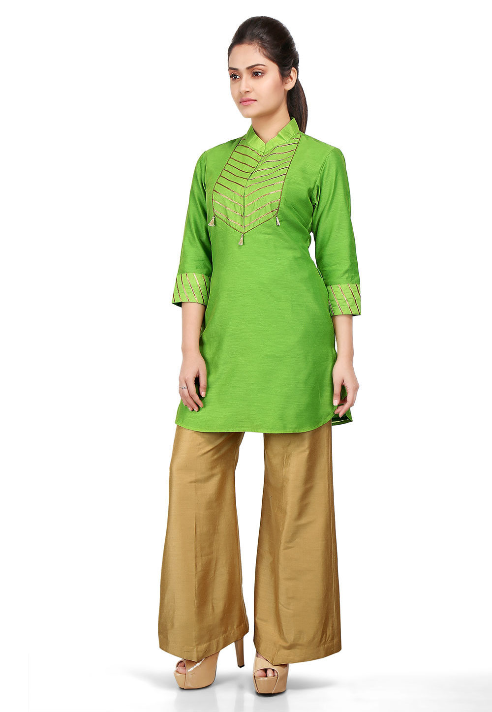 Lace Border Chanderi Cotton Tunic in Green