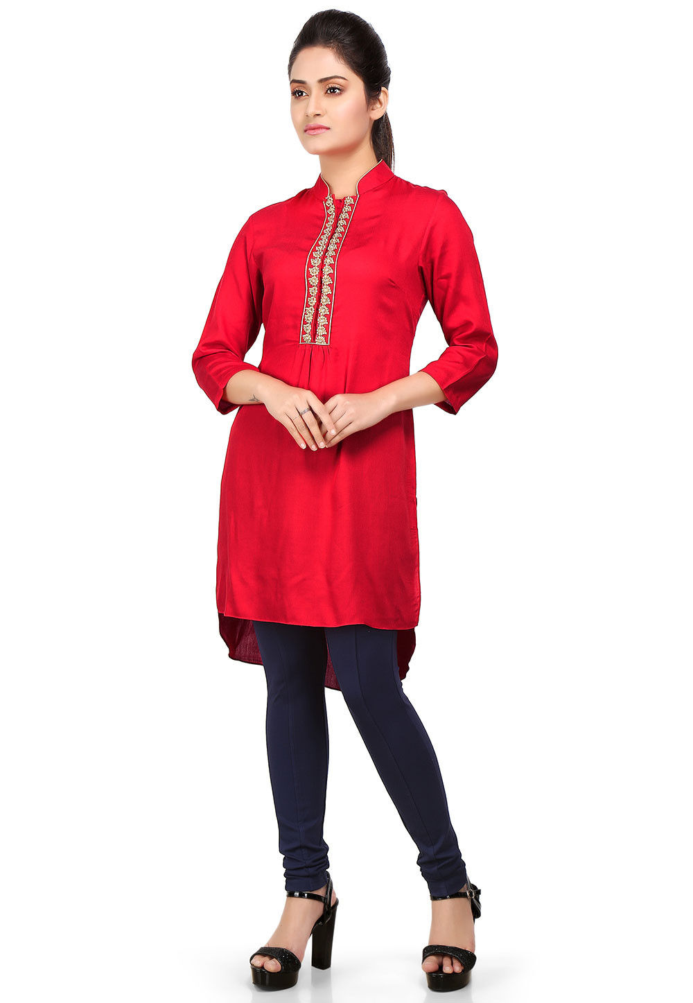 Plain Viscose Tunic in Red