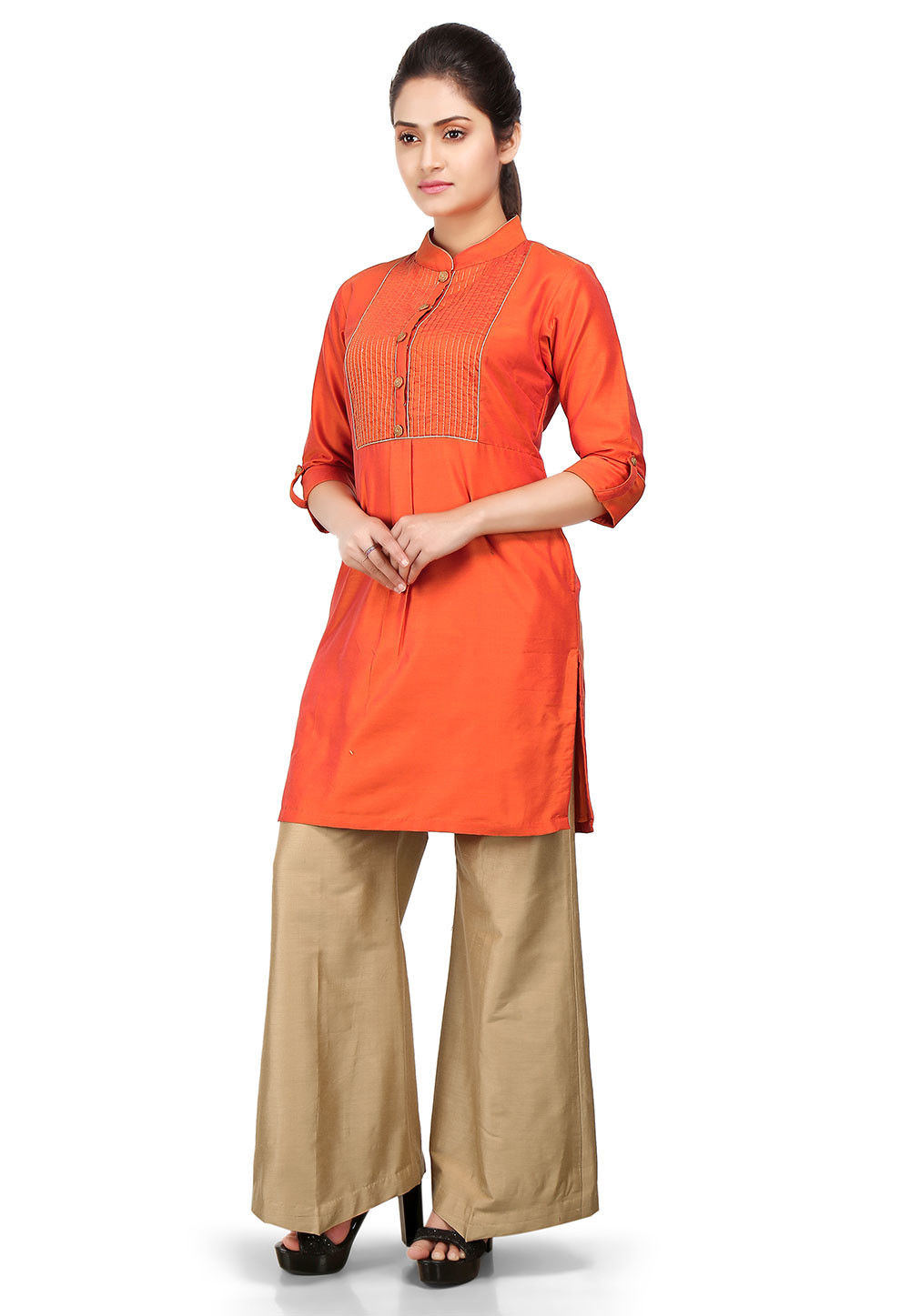 Plain Cotton Silk Kurti in Orange