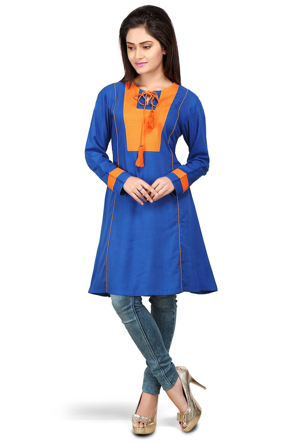 Plain Viscose Tunic in Royal Blue