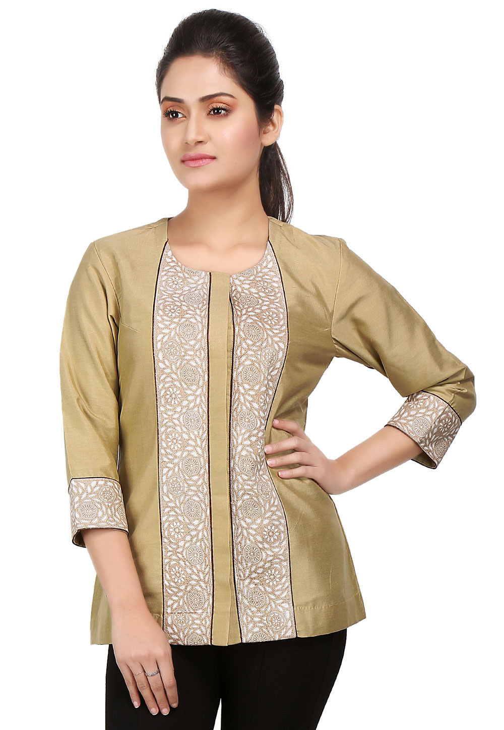 Printed Border Cotton Silk Top in Beige