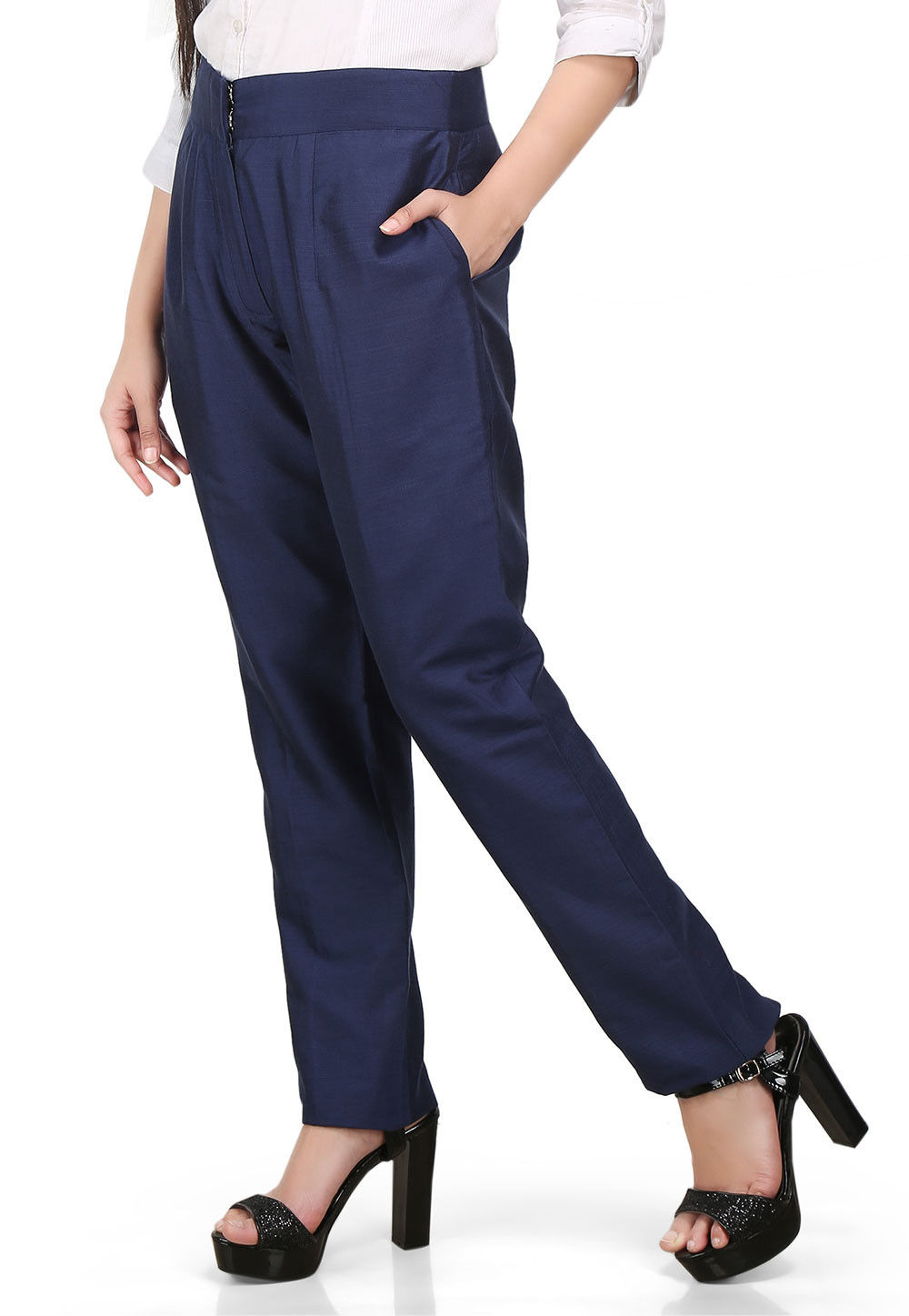 Cotton Silk Pant in Navy Blue