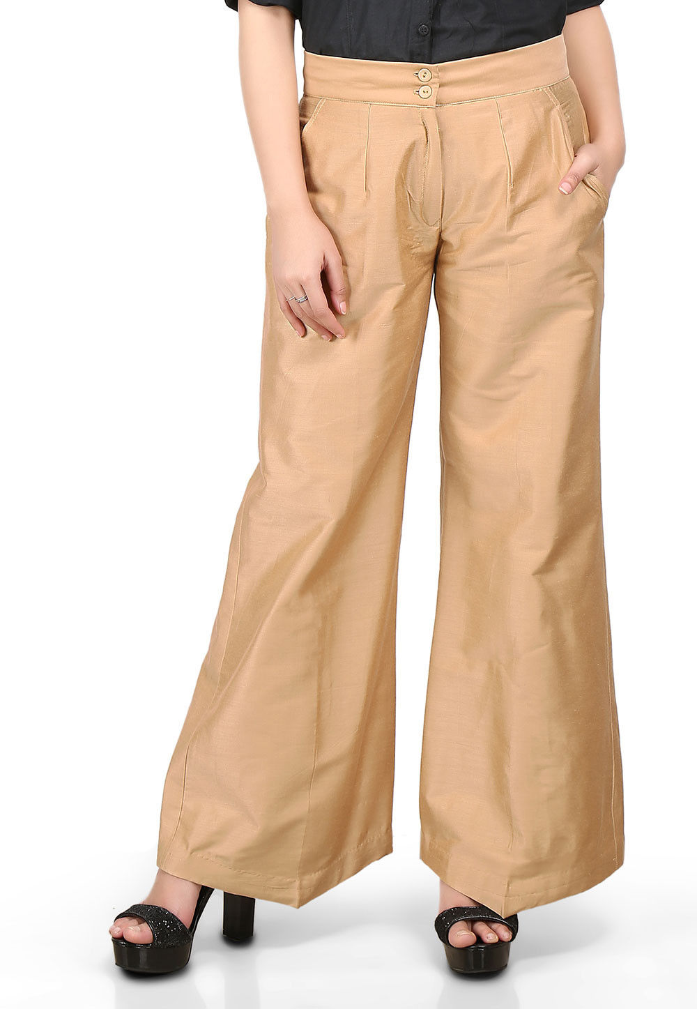 Plain Cotton Silk Palazzo Pant in Beige