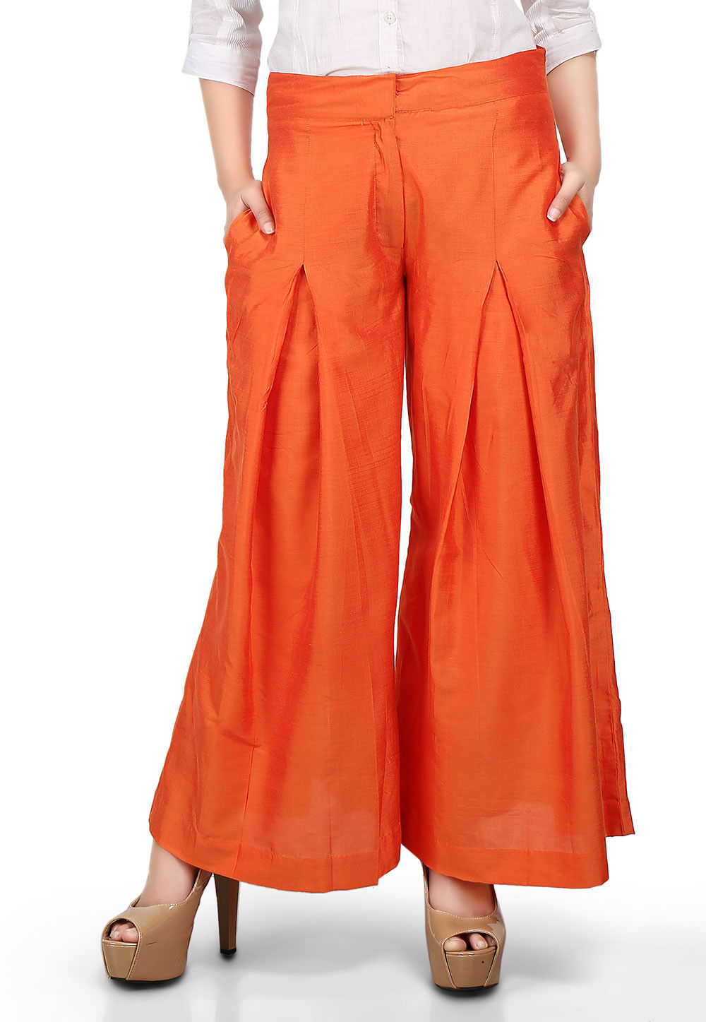 Plain Flared Cotton Silk Palazzo Pant in Orange