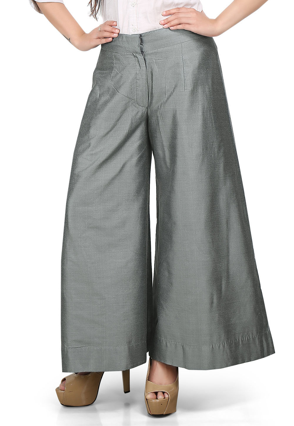 Flared Cotton Silk Palazzo Pant in Grey