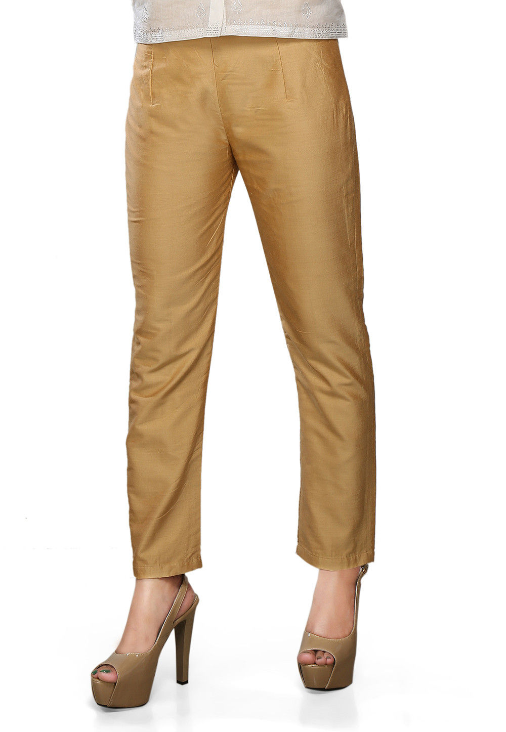 Art Silk Straight Pant In Beige