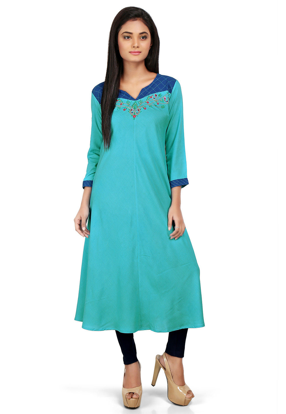 Plain Viscose Long Kurta in Turquoise