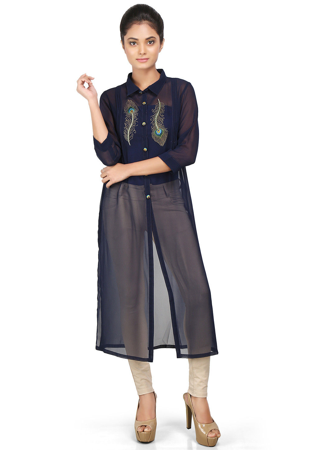 Plain Georgette Long Kurta in Navy Blue