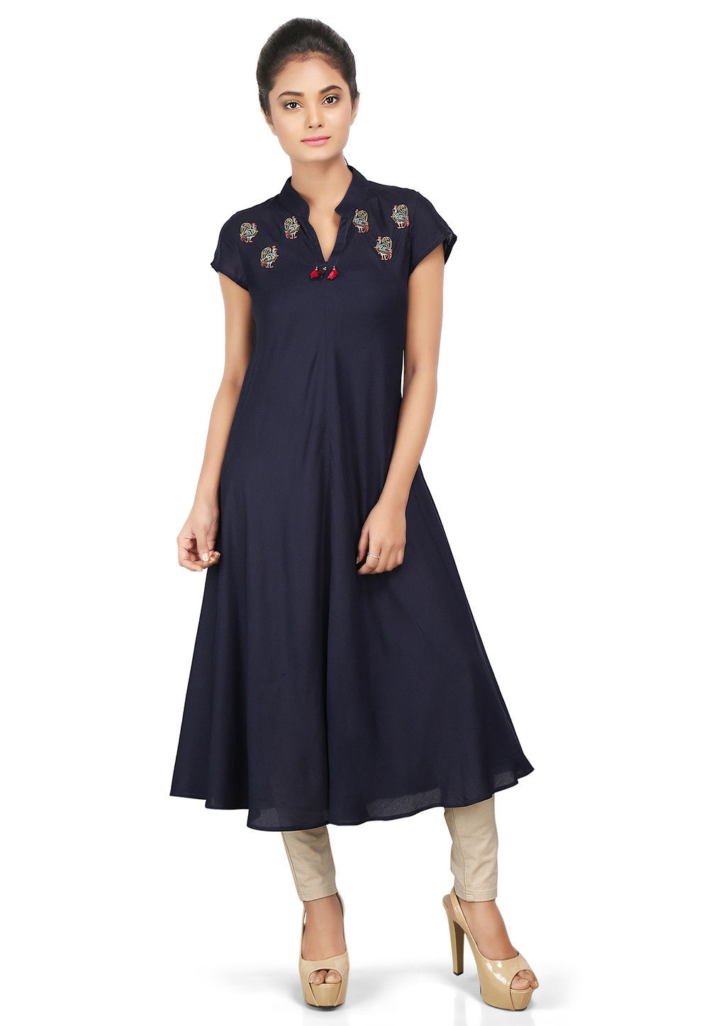 Plain Viscose Flared Long Kurta in Navy Blue