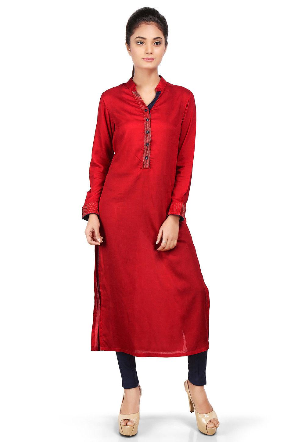 Plain Viscose Long Kurta in Red
