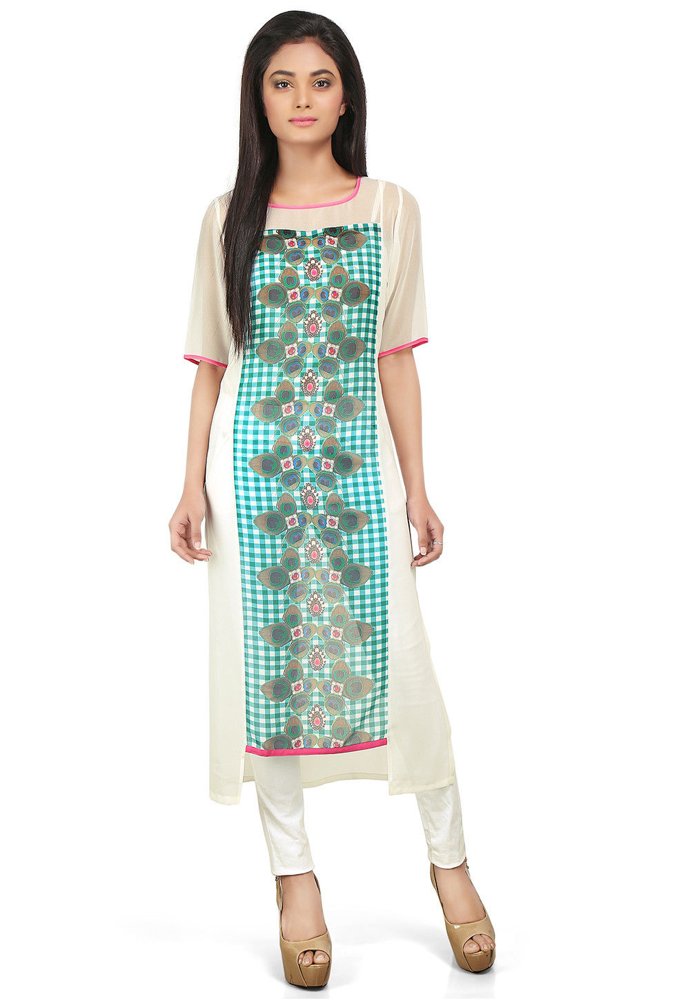 Printed Georgette High Low Long Kurta in Off White