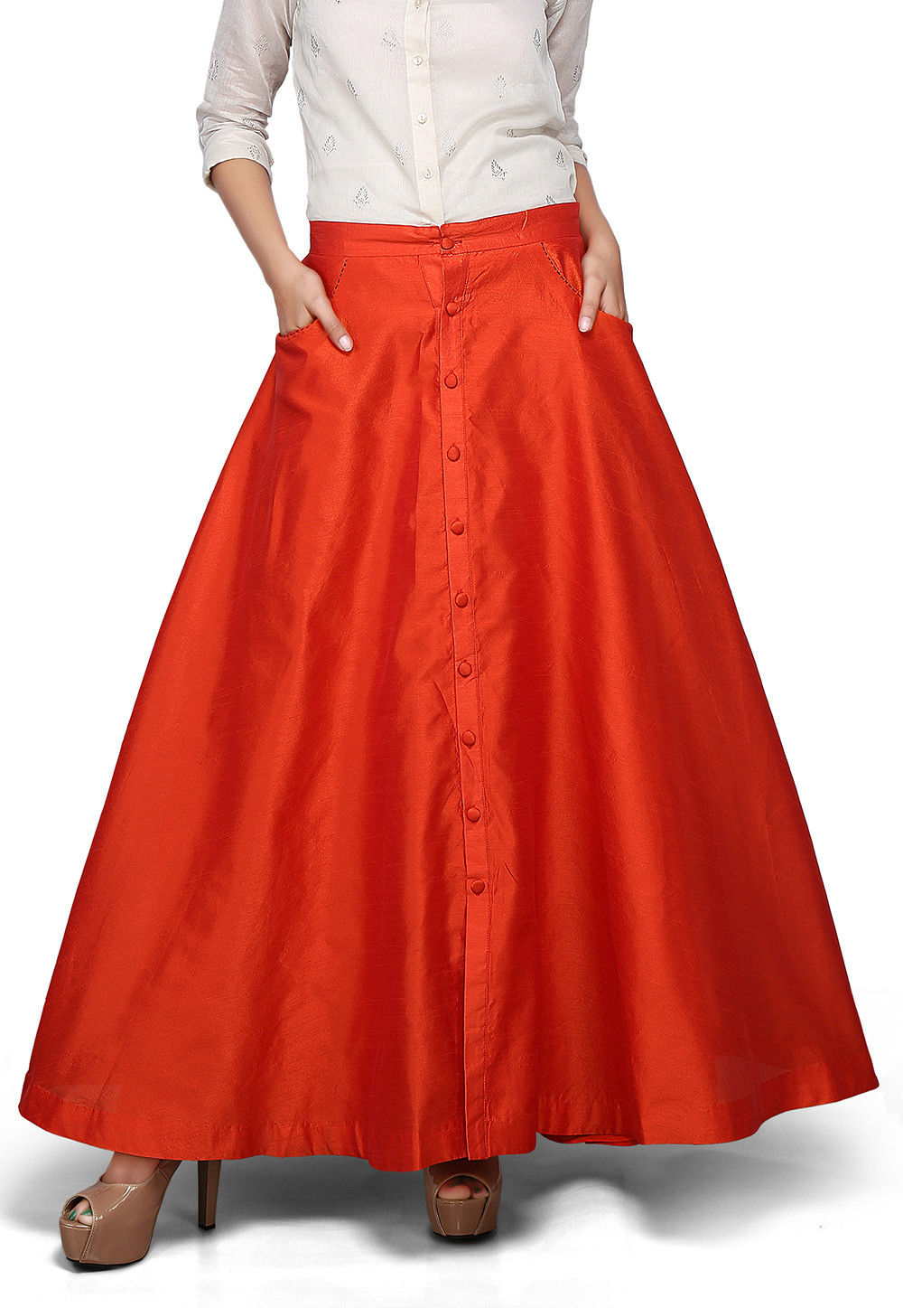 Art Dupion Silk Long Skirt In Orange