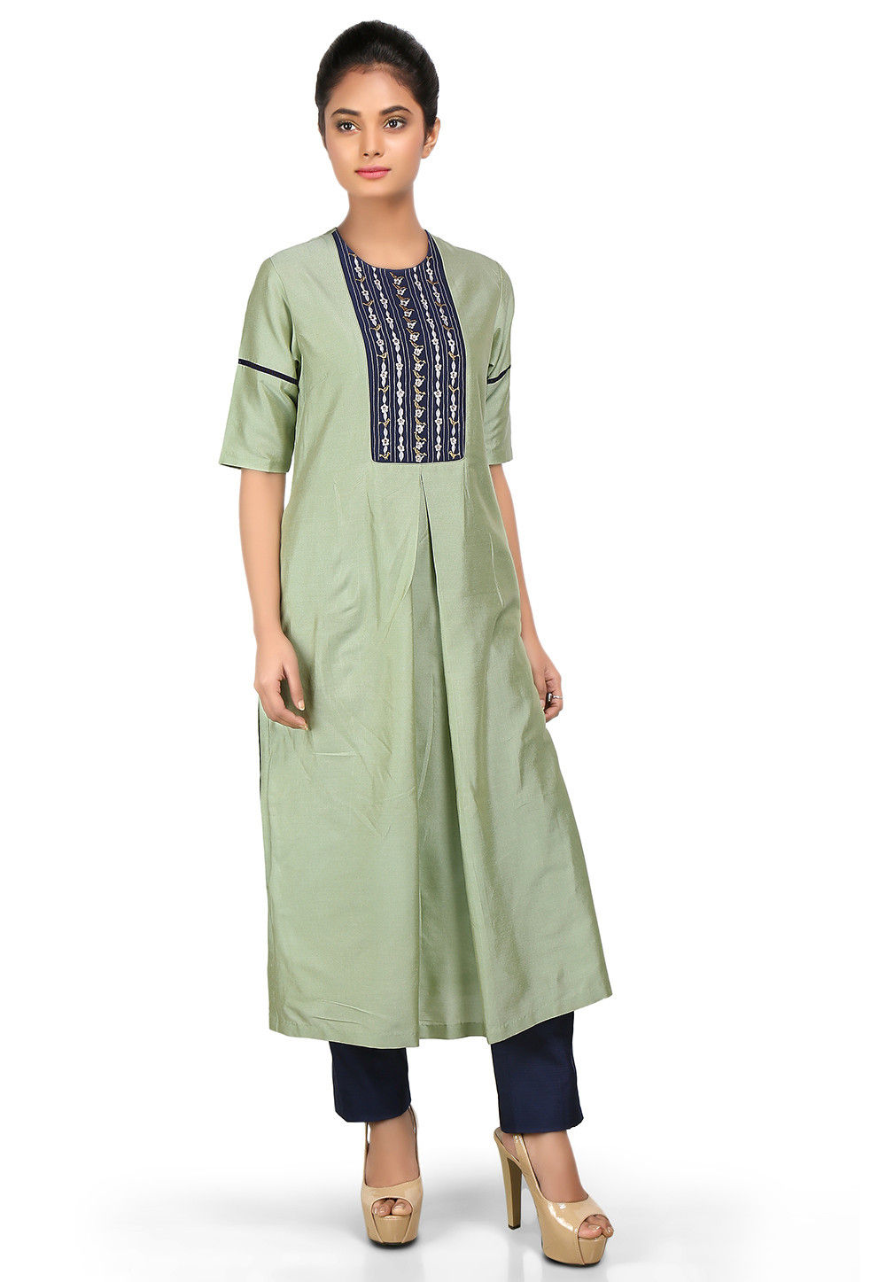 Embroidered Cotton Silk Long Kurta in Pastel Green