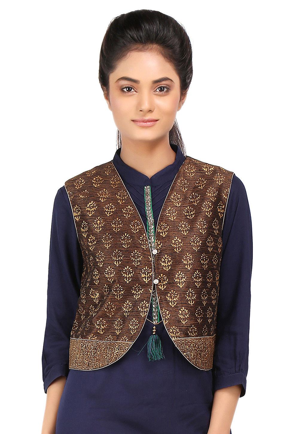 Block Printed Art Dupion Silk Jacket in Brown
