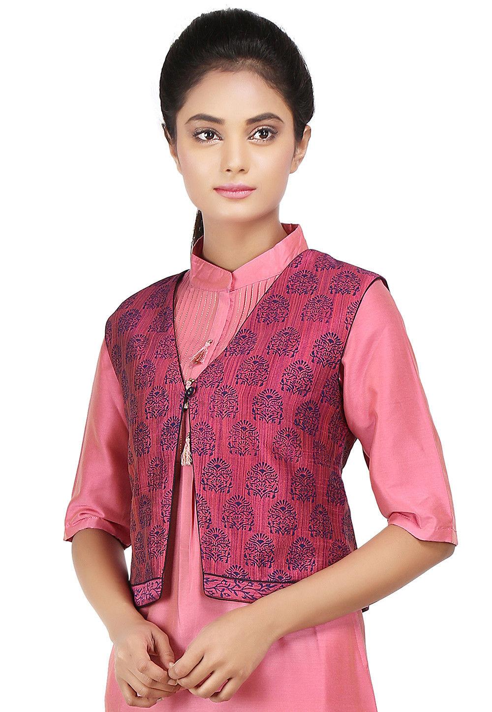 Block Printed Art Dupion Silk Jacket in Pink