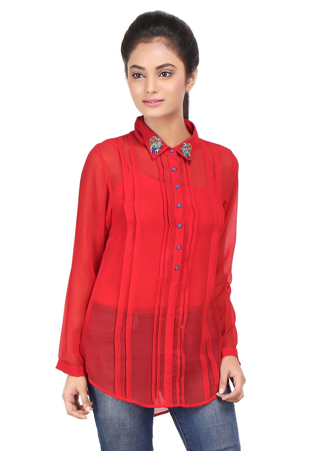 Plain Georgette Top in Red