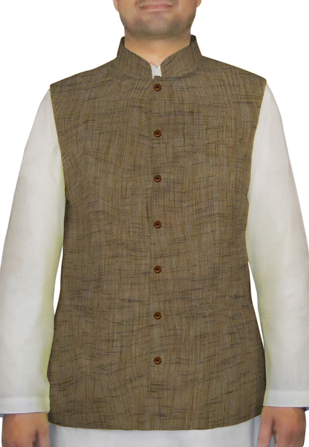 Plain Cotton Khadi Nehru Jacket in Brown