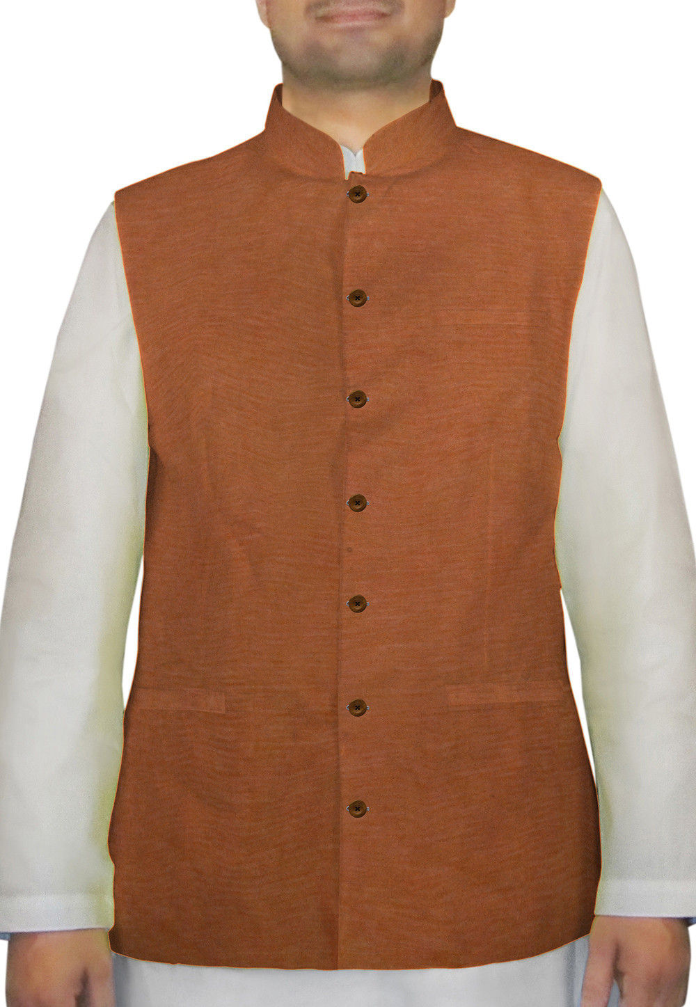 Plain Cotton Khadi Nehru Jacket in Rust