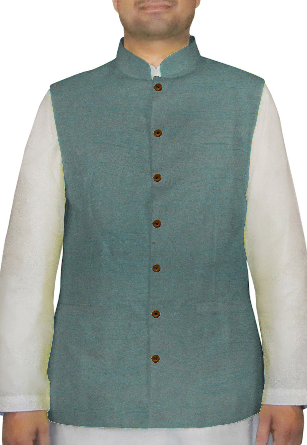 Plain Dupion Silk Nehru Jacket in Teal Blue