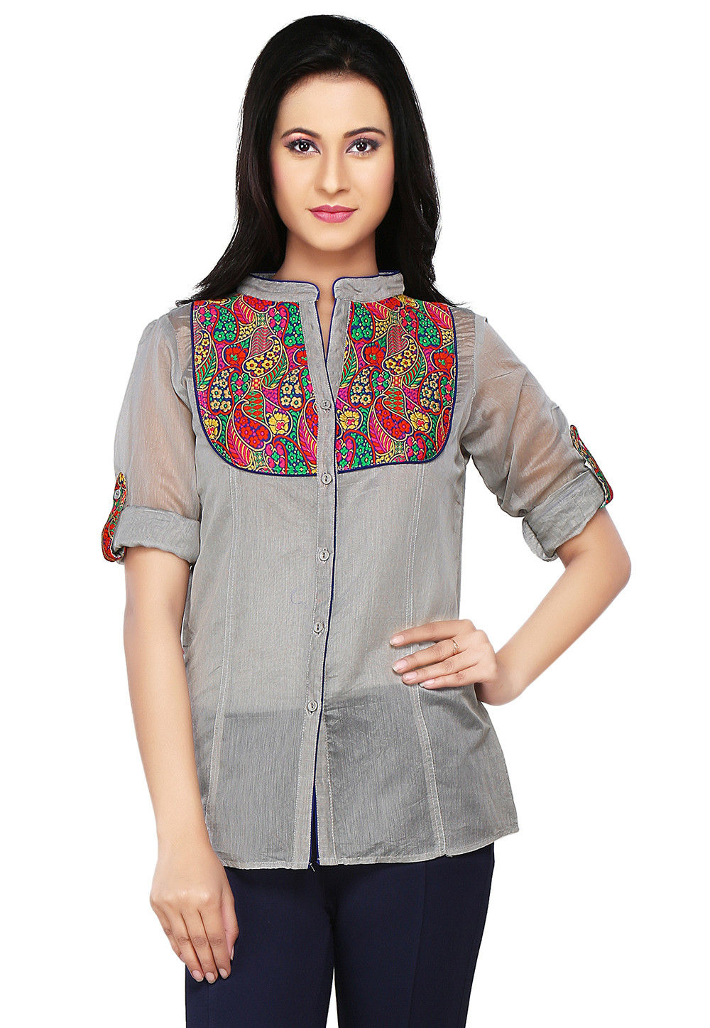 Art Chanderi Silk and Brocade Top In Grey