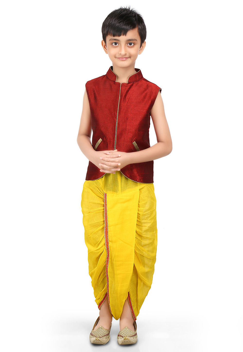 Plain Dupion Jacket and Dhoti Set in Maroon and Yellow