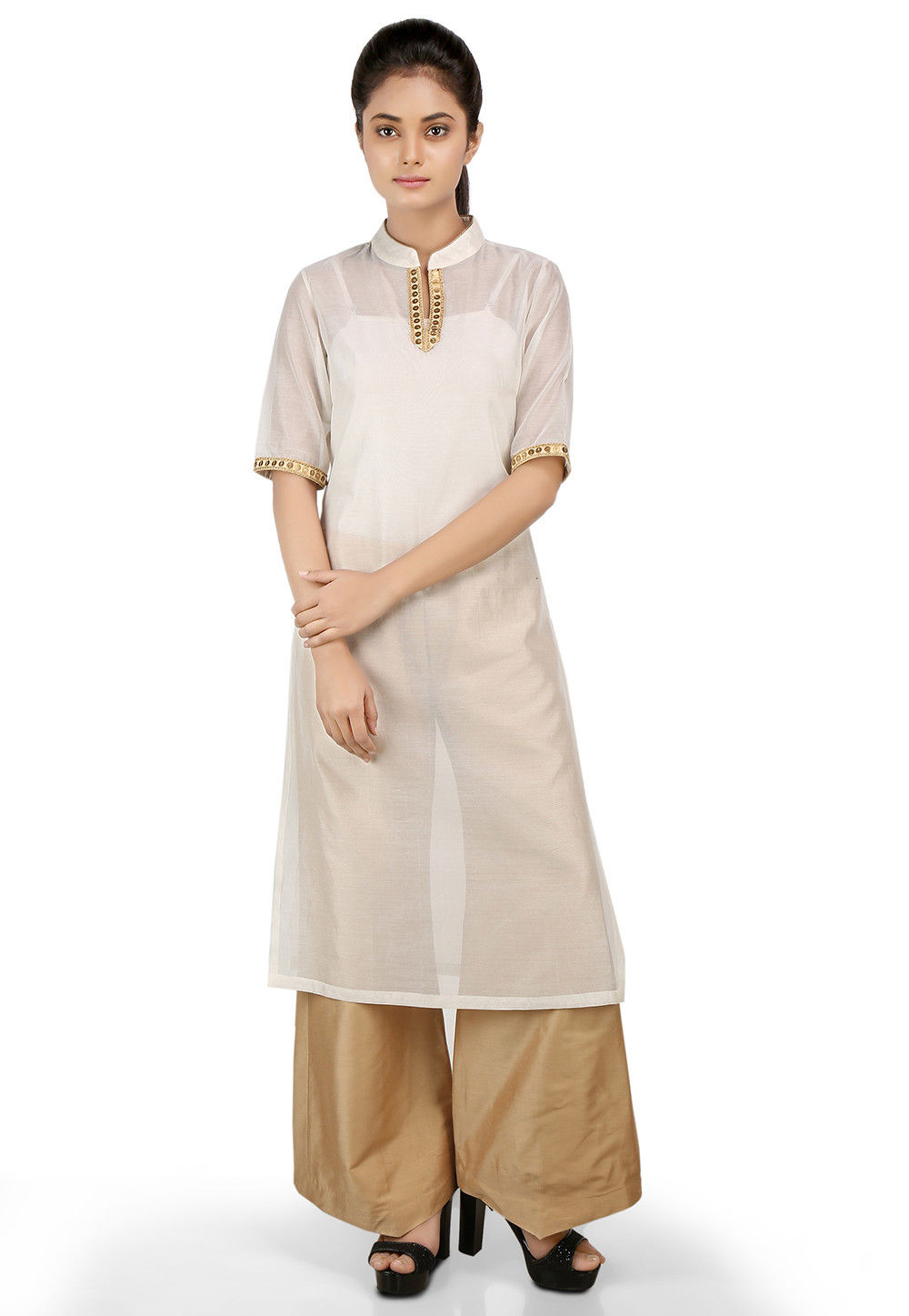 Plain Chanderi Silk Long Kurta in Off White