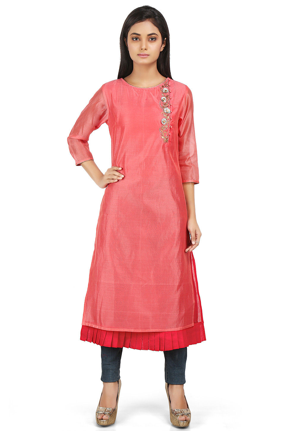 Plain Chanderi Silk Double Layered Kurta in Coral