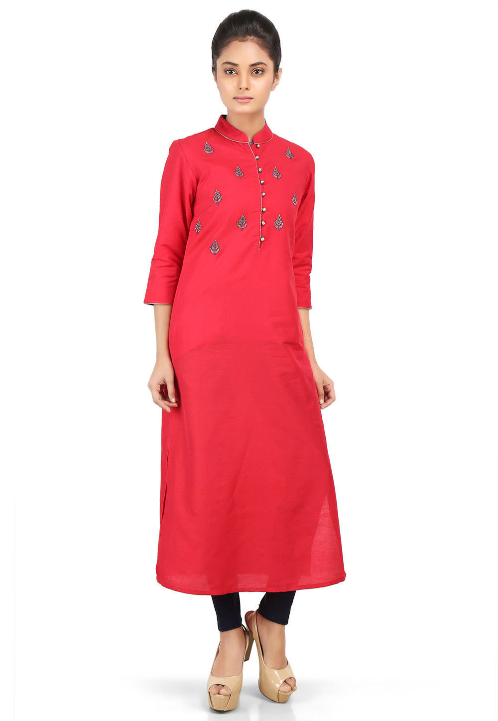 Embroidered Cotton Silk Long Kurta in Red