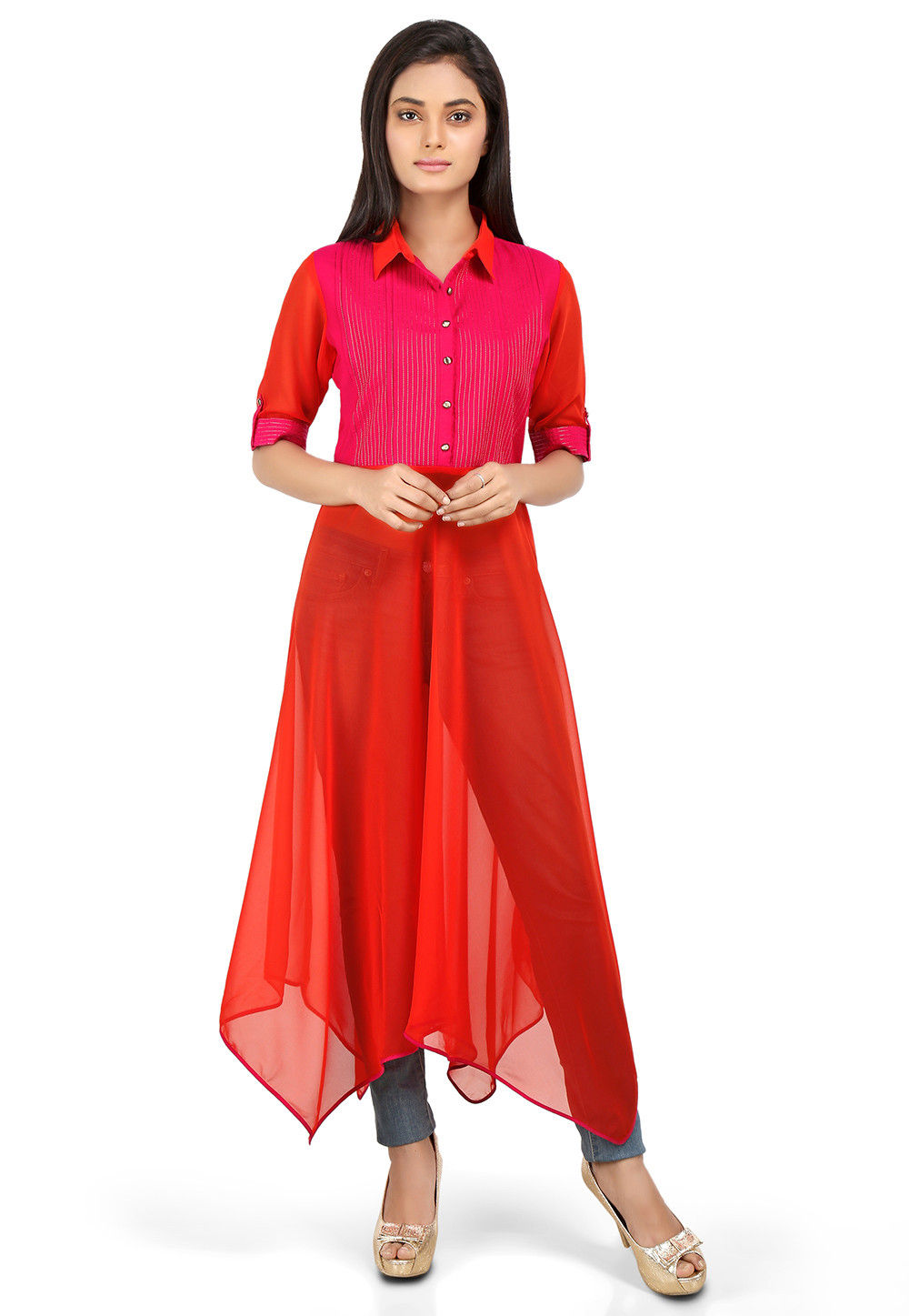 Plain Georgette Asymmetric Kurta in Orange and Fuchsia