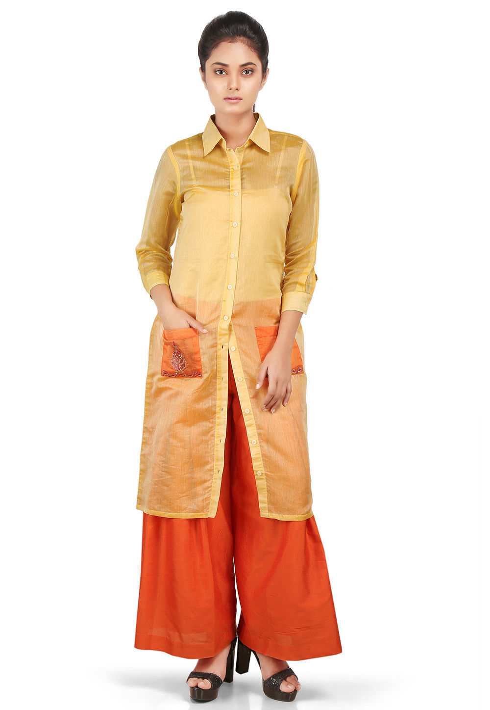 Plain Chanderi Silk Front Open Kurta in in Yellow