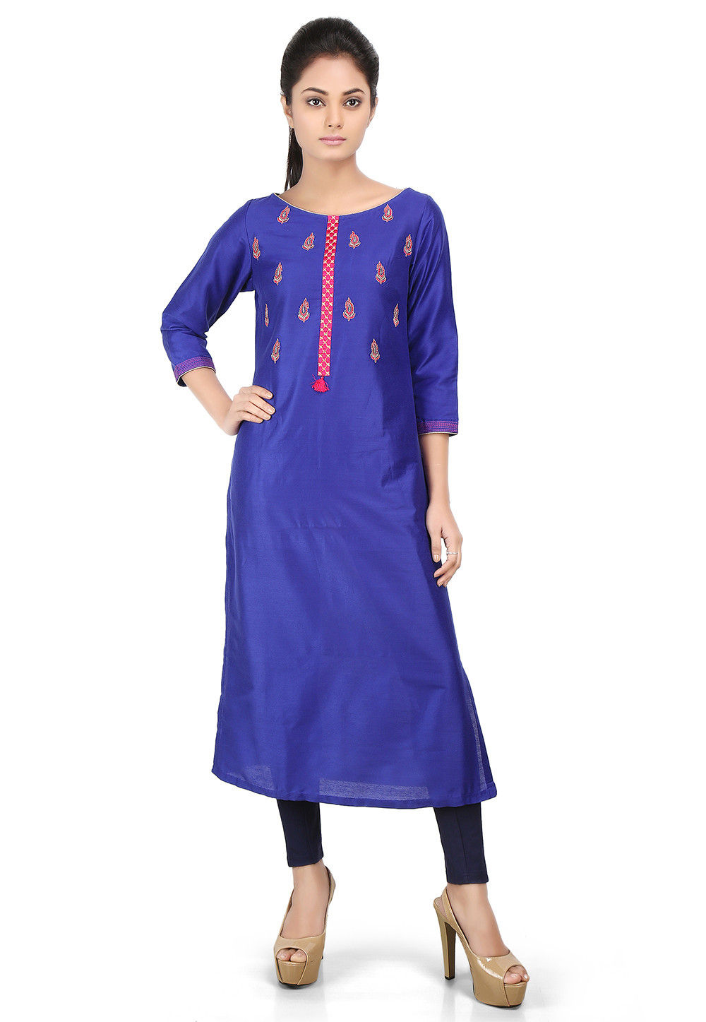Embroidered Cotton Silk Long Kurta in Royal Blue
