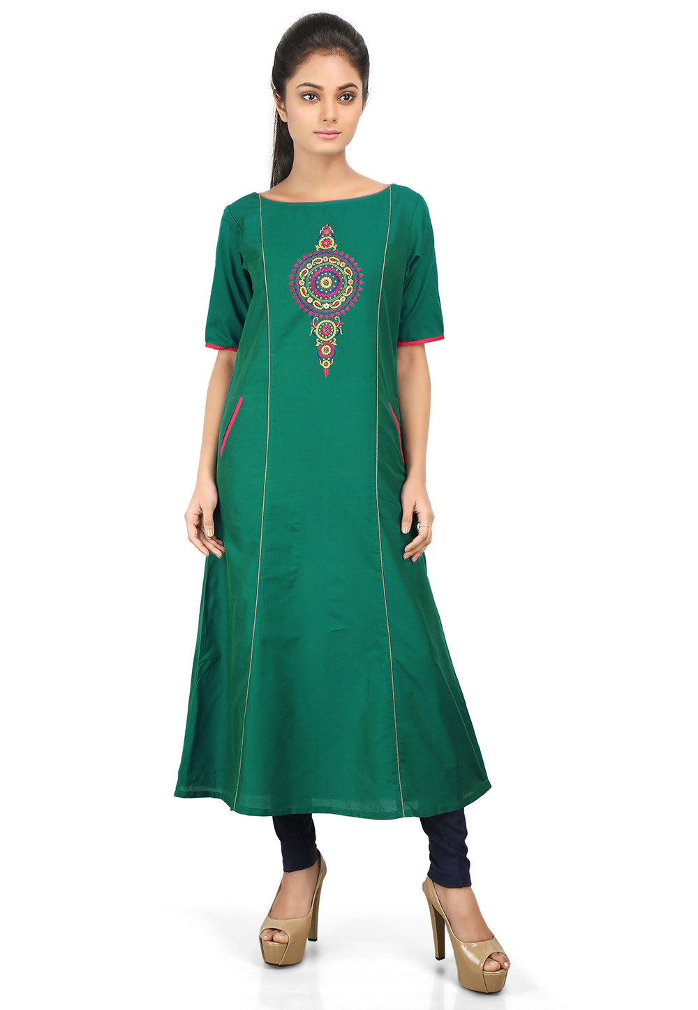 Embroidered Cotton Silk Long Kurta in Teal Green