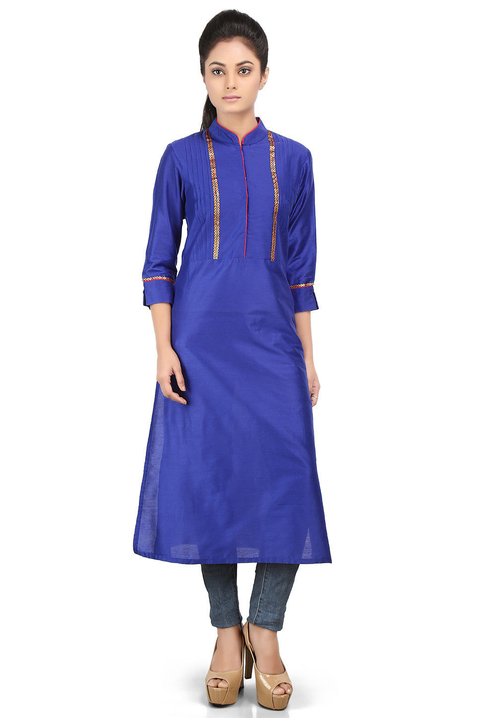 Plain Cotton Silk Long Kurta in Royal Blue