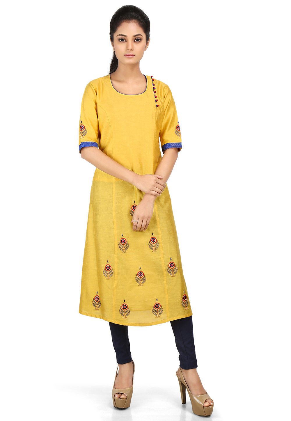 Embroidered Cotton Silk Long Kurta in Mustard
